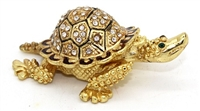 Small Golden Turtle Bejeweled Trinket Box