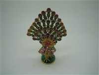 Colorful Golden Peacock Feather Up - Bejeweled Trinket Box