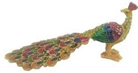 Colorful Golden Peacock - Bejeweled Trinket Box