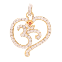 Sterling Silver OM pendant with Cubic Zircon setting