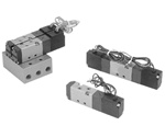 "Air Solenoid Valve, 4 Way,  2 Position,15mm (0.555"") Body Width, Double Solenoid, Lead Wires Without LED"