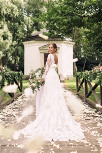 Krystal by Custom Dream Gowns | Custom Wedding Dress | Lace Wedding Dress | Fit and Flare Wedding Dress | 2018 Wedding Dress | Illusion Lace Wedding Dress | Lace Back Wedding Dress | Romantic Wedding Dress | Off Shoulder Wedding Dress