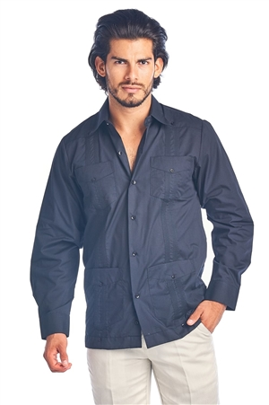 Wholesale Clothing Men's Guayabera Shirt Button Down Long Sleeve Solid Color Soft Poly Cotton Chacabana -NCM-3230-A