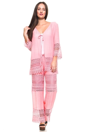 Wholesale Fashion Women's Stylish Crochet Accent Trimmed 3/4 Sleeve Cardigan Cover Up and Fringed Lounge Pant Set -SETNC-1050-NC-1052