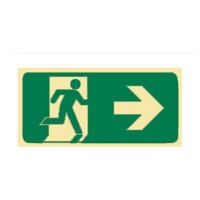 RUNNING MAN EXIT GLO RIGHT ARROW - Signs