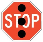STOP WHEN SIGNALS BLACKED OUT OR FLASHING