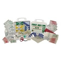 10 Person First Aid Kit - this 65 piece first aid kit is packed in a weatherproof plastic case. Kit first in vehicle glove box or can be mounted on a wall. Includes adhesive strips, gauze pads, adhesive tape roll, antiseptic wipes, burn cream packets.