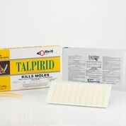 Talpirid mole killer is a worm-shaped bait to be placed in tunnels to rid moles from lawns and gardens.