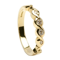 14k Yellow Gold Diamond Eternity Celtic Engagement Ring