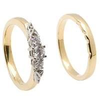 14k Yellow Gold 3 Stone Diamond Celtic Engagement Ring & Wedding Ring Set