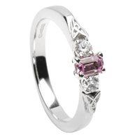 14k White Gold Pink Sapphire & Diamond Trinity Knot Celtic Engagement Ring