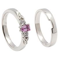 14k White Gold Pink Sapphire & Diamond Trinity Knot Celtic Engagement Ring & Wedding Ring Set
