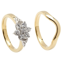 14k Yellow Gold Diamond 0.65cts Cluster Celtic Engagement Ring & Wedding Ring Se