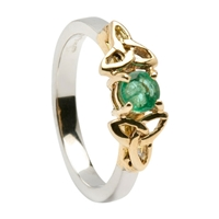 14k White Gold Emerald Trinity Knot Celtic Engagement Ring