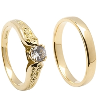 14k Yellow Gold Diamond 0.25cts Trinity Knot Celtic Engagement Ring & Wedding Ring Set