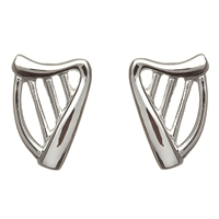 Sterling Silver Small Harp Celtic Stud Earrings