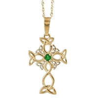 10k Yellow Gold Trinity Knot Emerald Celtic Cross 24mm