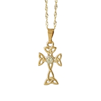 10k Yellow Gold Small Diamond Trinity Knot Celtic Cross 17mm