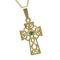 10k Yellow Gold Small Emerald Celtic Cross 21mm