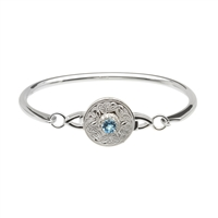 Sterling Silver Blue & White CZ's Small Wire Warrior Shield Celtic Bangle