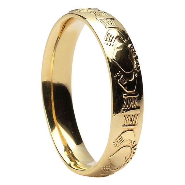 10k Yellow Gold Mens Claddagh Wedding Ring 5mm Comfort Fit