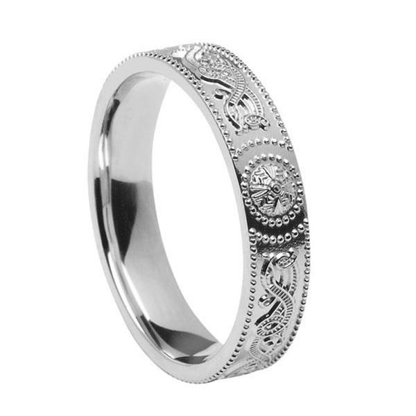 Sterling Silver Warrior Shield Ladies Celtic Wedding Ring 45mm