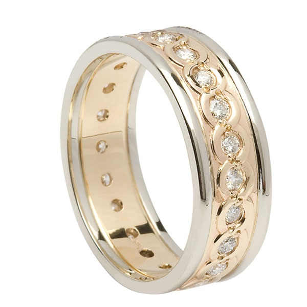 14k Yellow Gold Mens Diamond Celtic Weaves Wedding Ring 75mm
