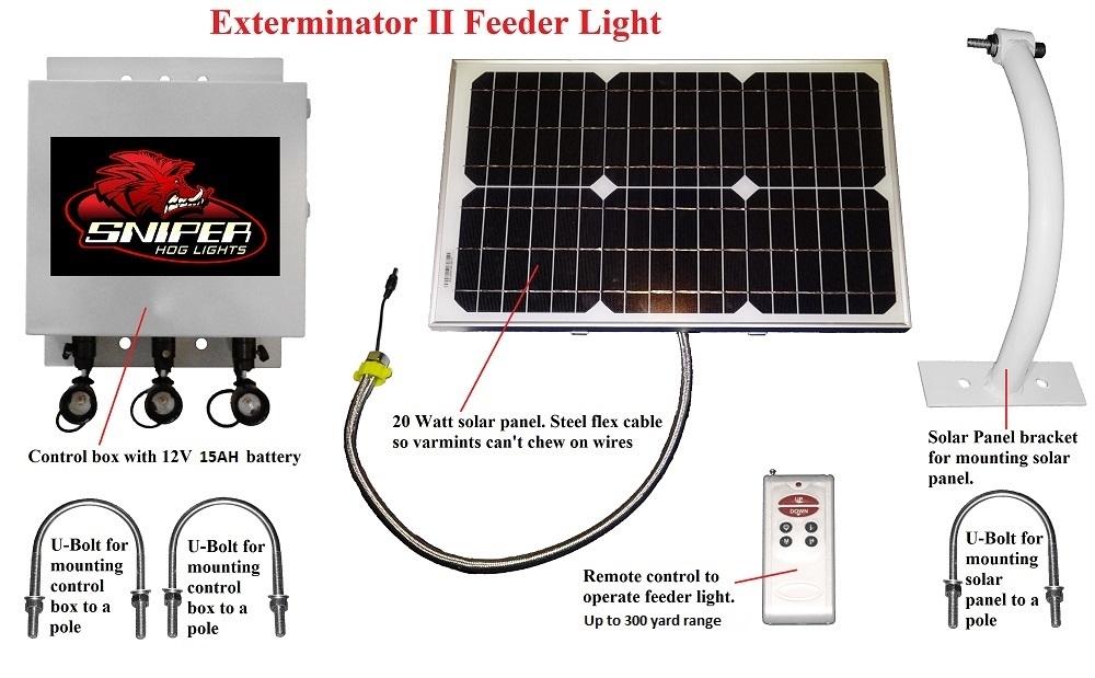 Exterminator Solar Feeder Light In Red Green Ir Or White