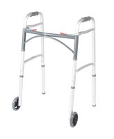 "Deluxe Two Button Folding Walker with 5"" Wheels"