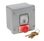 1KXS Key Switch for Commercial Garage Door Applications with Open and Close Operations and Stop Button.