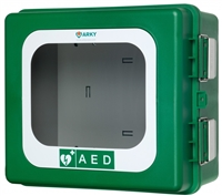 Outdoor HEATED alarmed defibrillator cabinet ( Arky Case 184 )