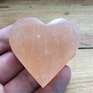 Peach Selenite Heart
