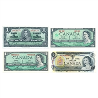 1937-1973 $1 Cdn. Premium Quality Paper Money Collection - 4 Notes