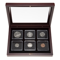 1987 Uncirculated Coin Set in Custom Mahogany Display Case