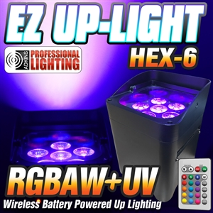 EZ Up-Light Hex-6 - LED Battery Powered Wireless - Control by Smart Phone App, Wireless Remote, DMX, Audio, Auto Black Case