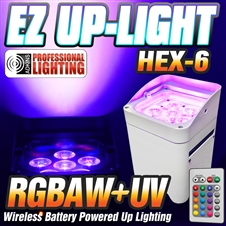 EZ Up-Light Hex-6 - LED Battery Powered Wireless - Control by Smart Phone App, Wireless Remote, DMX, Audio, Auto White Case