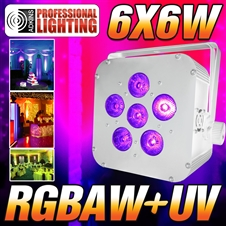 16 Hour LED Battery Powered Wireless DMX - 6x6 watt RGBAW+UV - white Case - LED Up Light - Weddings - Stage Light - Dj Light