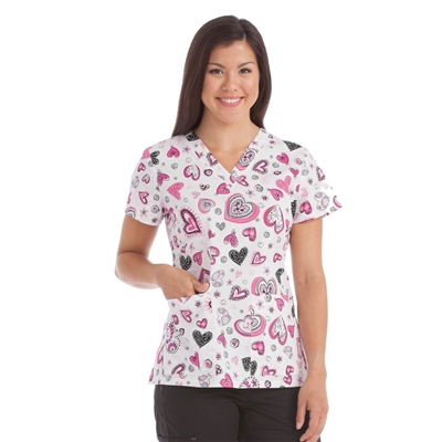 Med Couture Valerie Print Top in Light Hearted