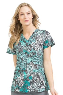 Med Couture Mc2 Niki Print Top In Gentle Medley
