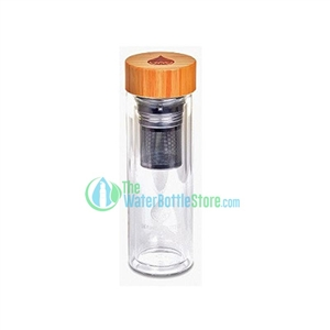 Define Water Bottle 15oz Bamboo Glass with Tea Infuser Edition