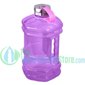 Half Gallon 77oz Hexagon Purple Plastic Reusable Water Bottle Steel Top