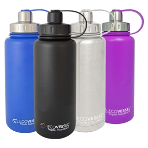 BOULDER Triple Insulated Stainless Steel Water Bottle with Tea, Fruit, Ice Strainer - 32 Oz by EcoVessel