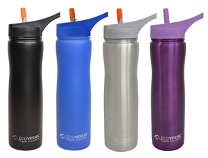SUMMIT Triple Insulated Stainless Steel Water Bottle w/ Flip Straw Spout - 24 Oz by EcoVessel