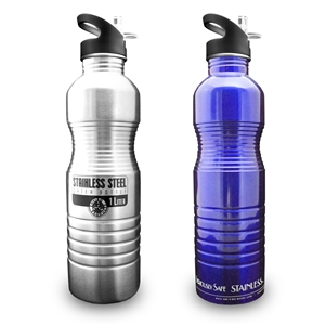 1L 32oz Stainless Steel Metal Reusable Water Bottle by New Wave Enviro