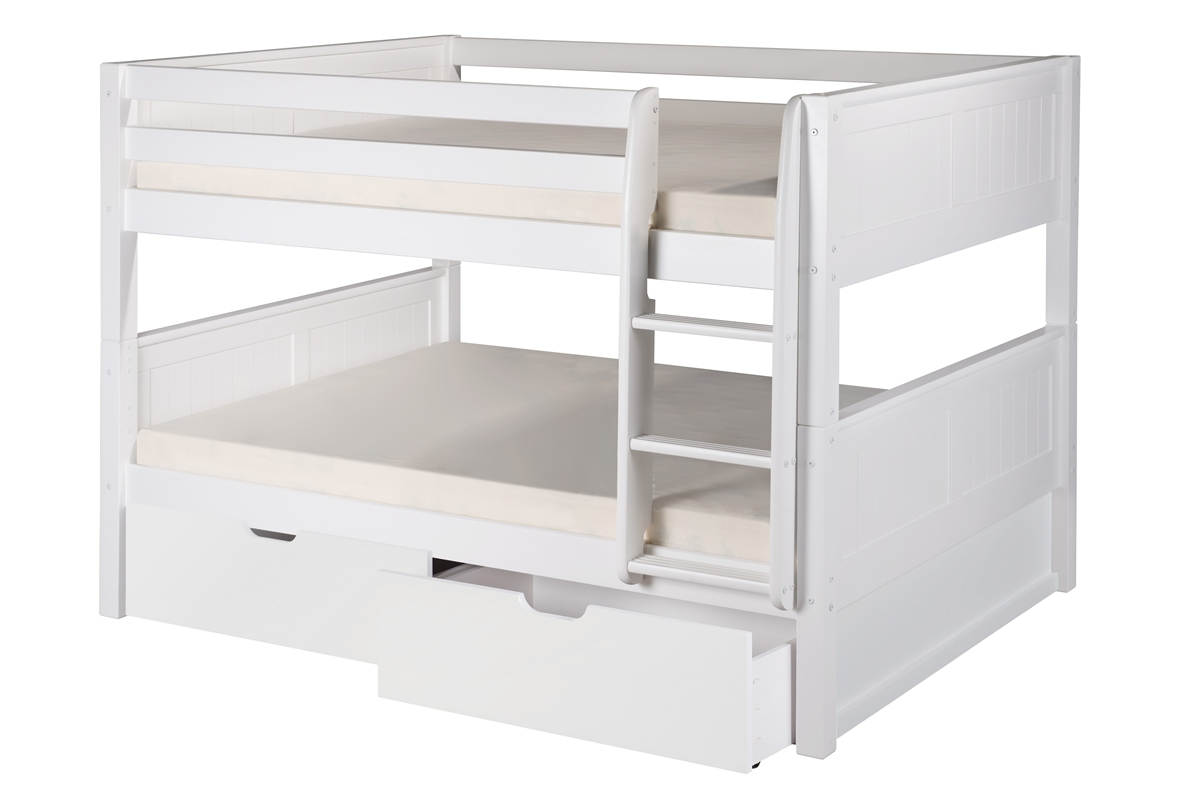 Full Over Full Low Bunk Bed Drawers Panel White