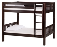 High Bunk Bed - With Conversion Kit - Mission Style - Cappuccino