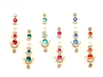Pack of nice sized long bindi in a long sized bindi. Bright rainbow colors are accented with silver and white crystals.