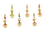 Elegant rainbow bindi with gold accents and white crystals.