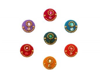 Rainbow bindi dots with matching crystals and gold accents.