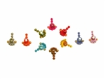 Small brightly colored rainbow crystal bindi body stickers.